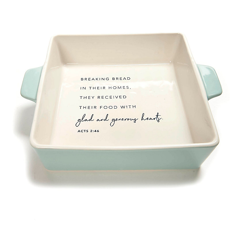 Glad and Generous Hearts - Ceramic Square Baker - Blue