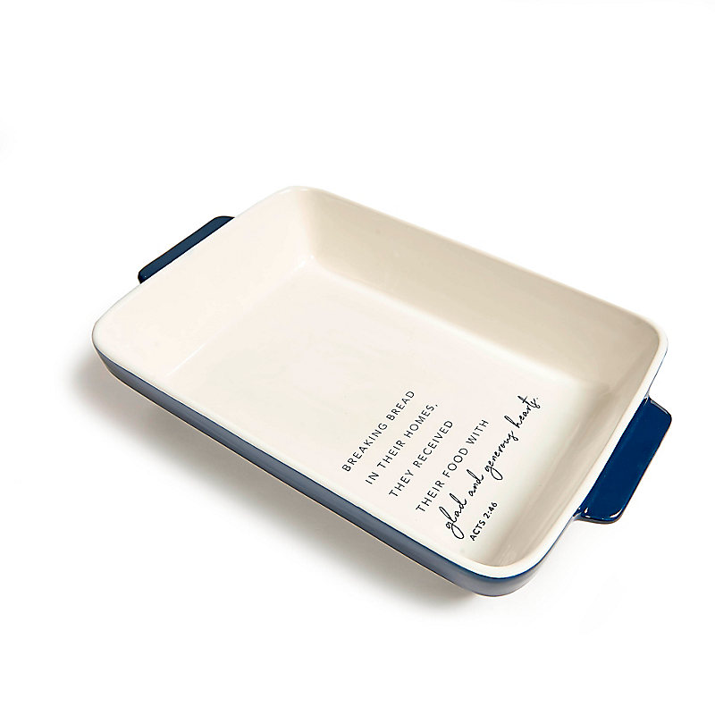 Glad and Generous Hearts - Ceramic Rectangular Baker - Navy