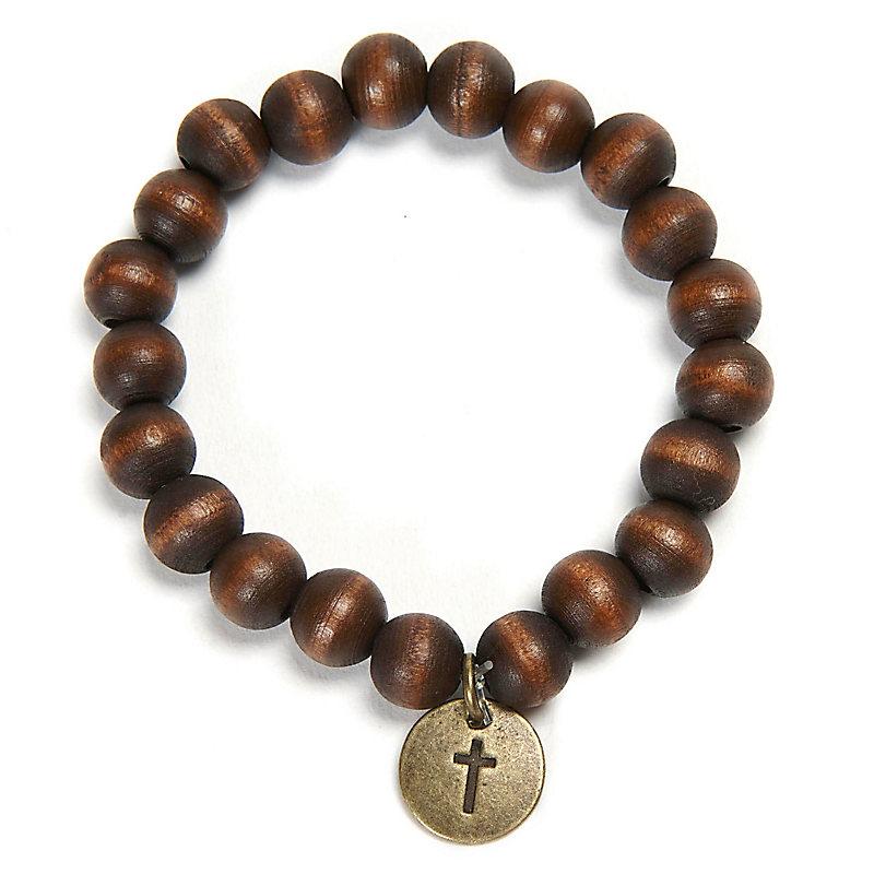 Wooden Bead Bracelet With Cross Charm