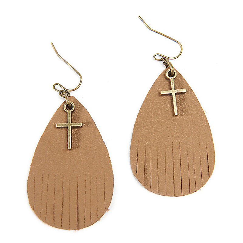 Cross Earrings with Leather Fringes