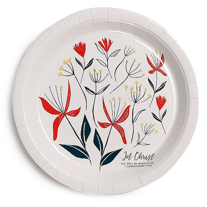 In Christ Floral Dinner Plates