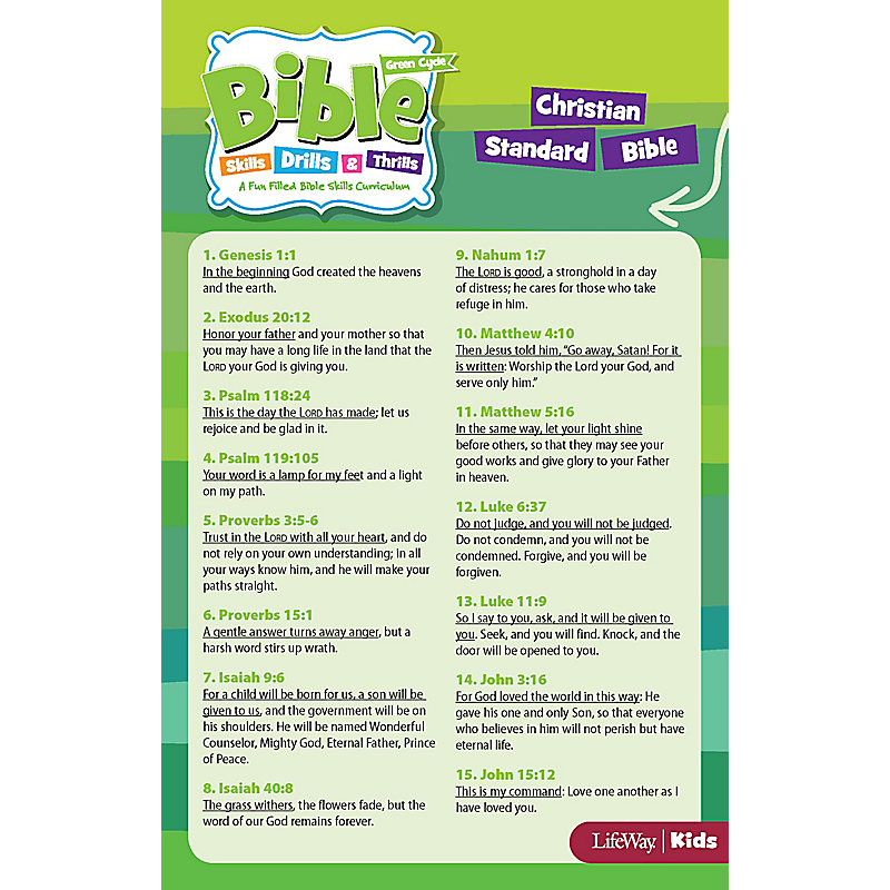 Bible Skills, Drills, & Thrills: Green Cycle CSB Verse Cards (PKG 10)