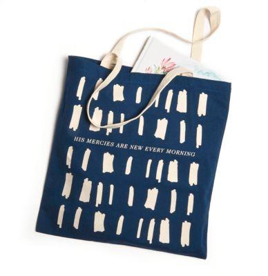 His Mercies Navy Tote Bag