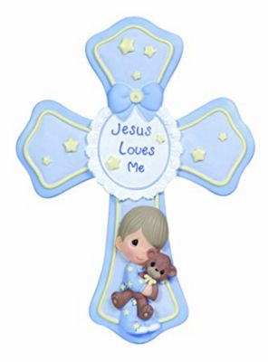 Christian gifts for babies lifeway jesus loves me cross with easel blue negle Image collections