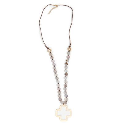 Stone Bead Cross Necklace, White