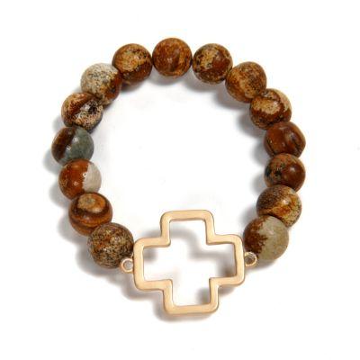 Stone Bead Cross Bracelet, Chocolate