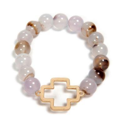 Stone Bead Cross Bracelet, White