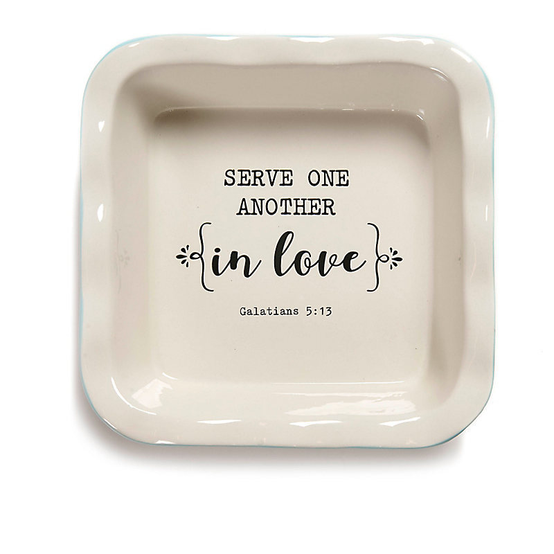 """""""Serve One Another"""" Ceramic Baking Dish, 9"""""""