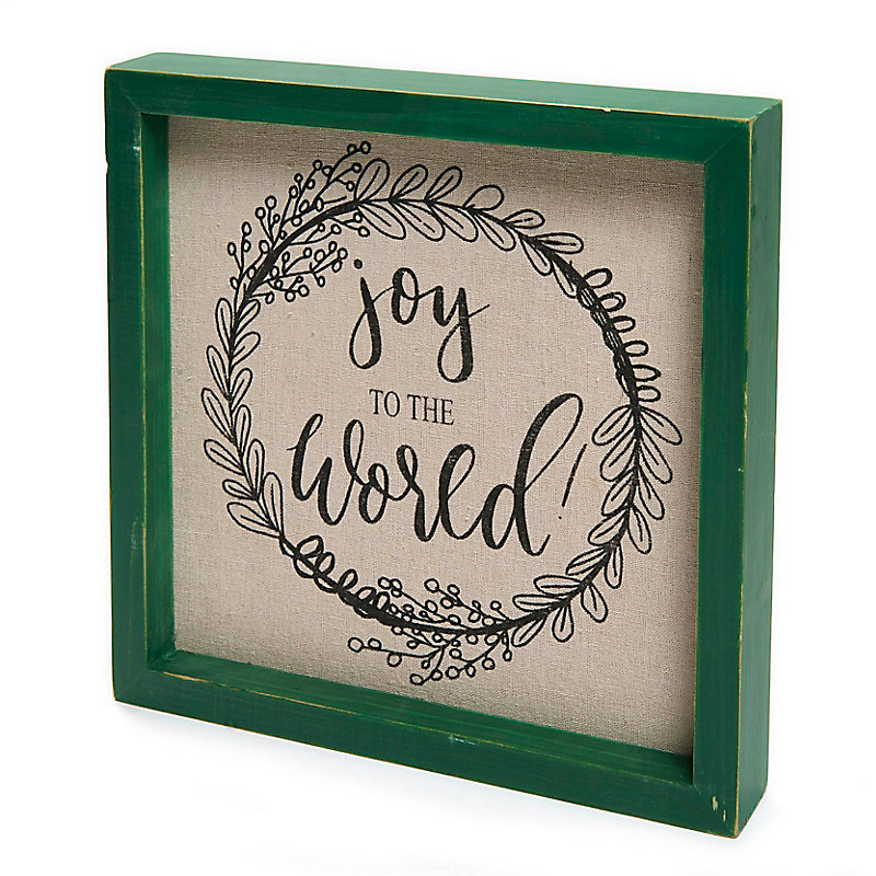 """Joy to the World"" Framed Fabric Board"