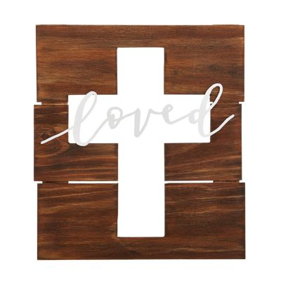 Loved Cross Cut Out Pallet Sign