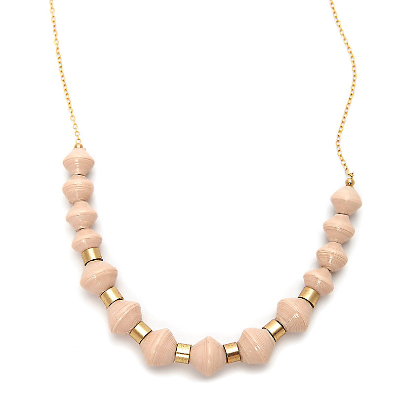 Beaded Scoop Necklace, Cream