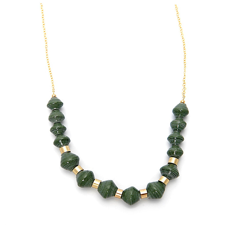 Beaded Scoop Necklace, Sage