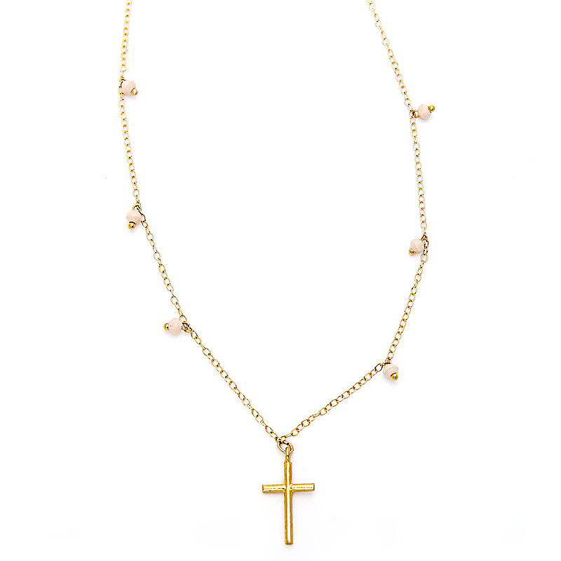 Cross Necklace, Cream