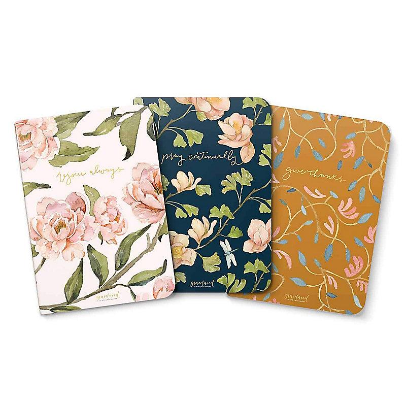 GraceLaced Lined Notebooks (Set of 3): Rejoice, Pray, Give