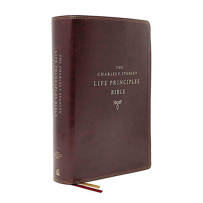 NASB, Charles F. Stanley Life Principles Bible, 2nd Edition, Leathersoft, Burgundy, Thumb Indexed, Comfort Print
