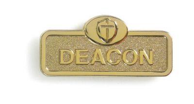 Brass Deacon Badge with Cross