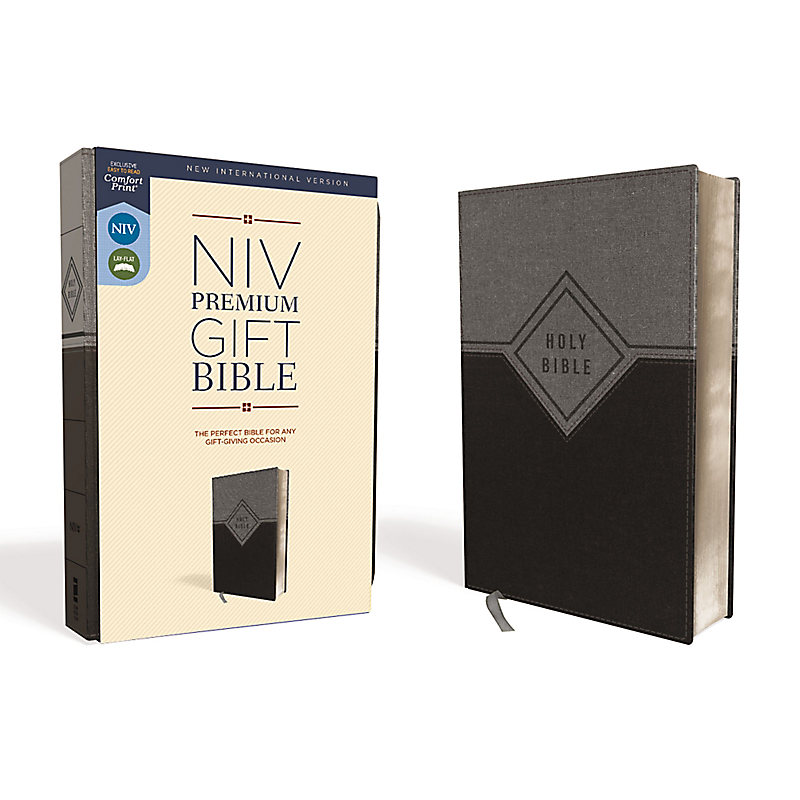 NIV, Premium Gift Bible, Leathersoft, Black/Gray, Red Letter Edition, Comfort Print