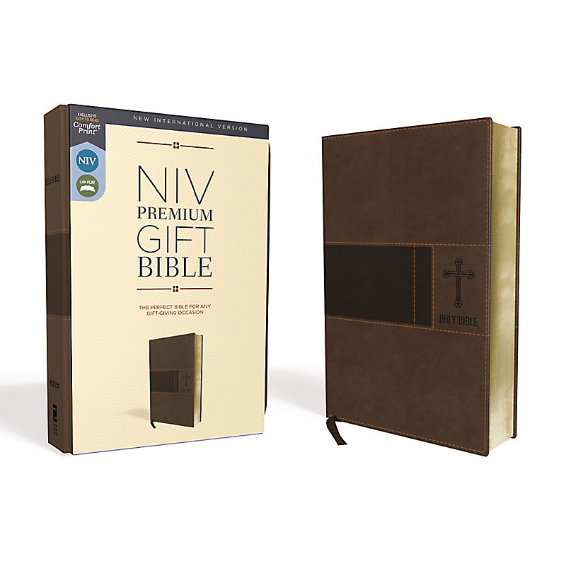 NIV, Premium Gift Bible, Leathersoft, Brown, Red Letter Edition, Comfort Print