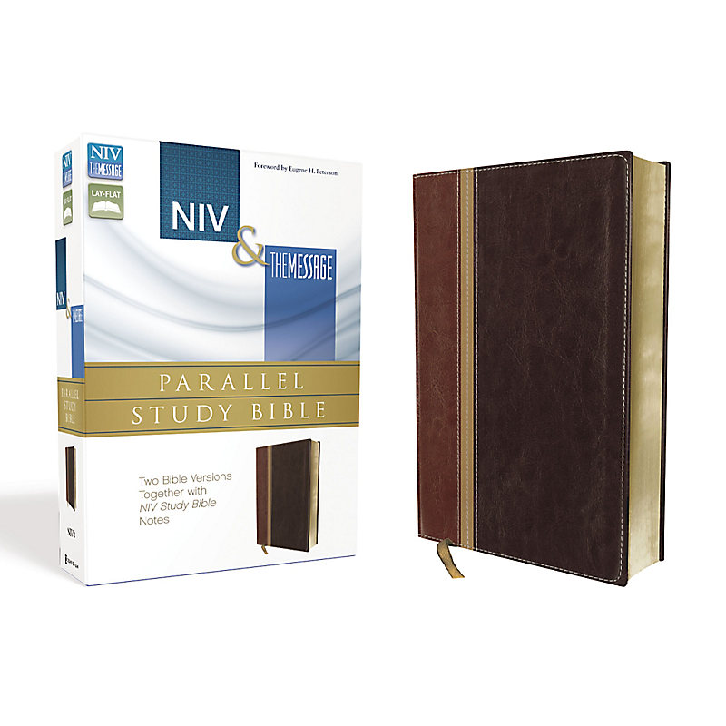 NIV, The Message, Parallel Study Bible, Leathersoft, Brown/Red