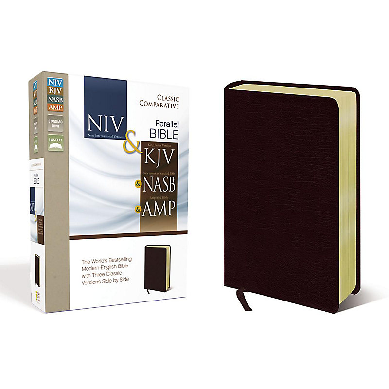 NIV, KJV, NASB, Amplified, Classic Comparative Parallel Bible, Bonded  Leather, Burgundy