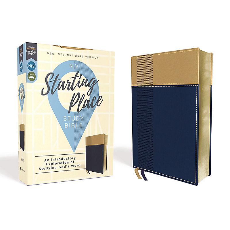 NIV, Starting Place Study Bible, Leathersoft, Blue/Tan, Comfort Print