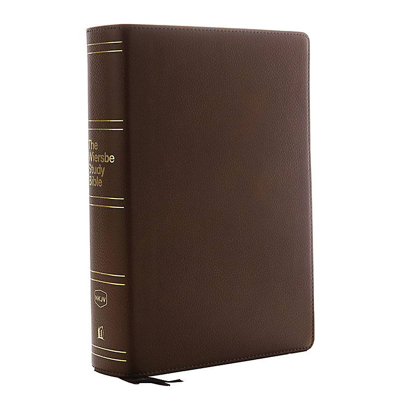 NKJV, Wiersbe Study Bible, Genuine Leather, Brown, Indexed, Red Letter Edition, Comfort Print