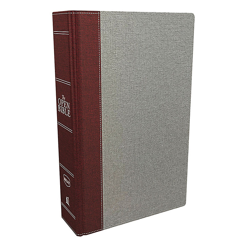 The NKJV, Open Bible, Cloth Over Board, Gray/Red, Red Letter Edition, Comfort Print