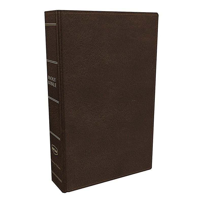 NKJV, Preaching Bible, Premium Calfskin Leather, Brown, Comfort Print