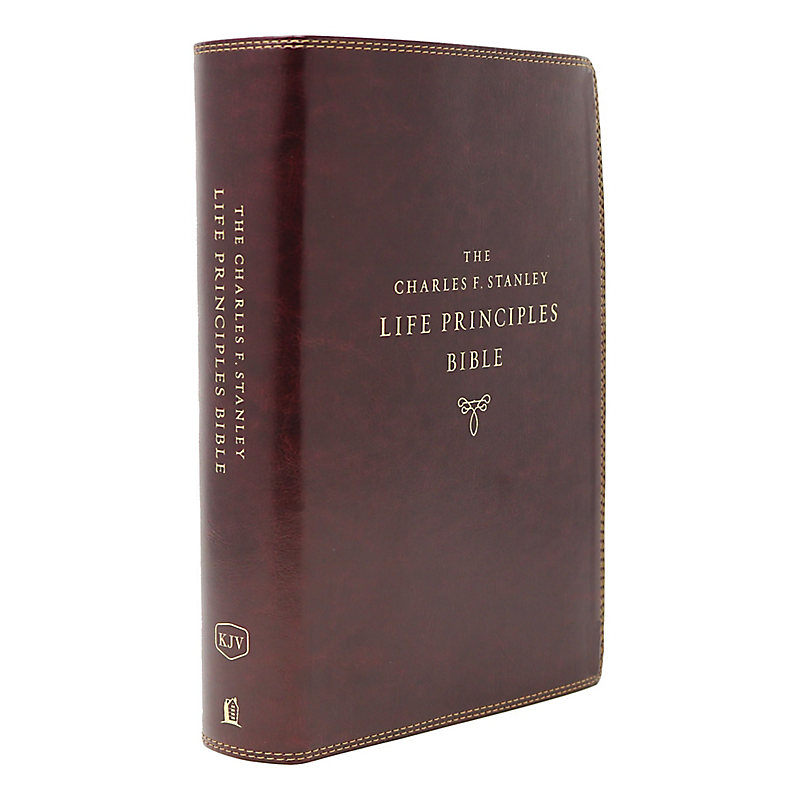 KJV Charles F. Stanley Life Principles Bible, 2nd Edition, Leathersoft, Burgundy, Comfort Print