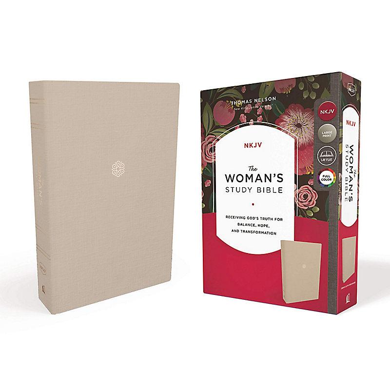 NKJV, Woman's Study Bible, Cloth over Board, Cream, Full-Color