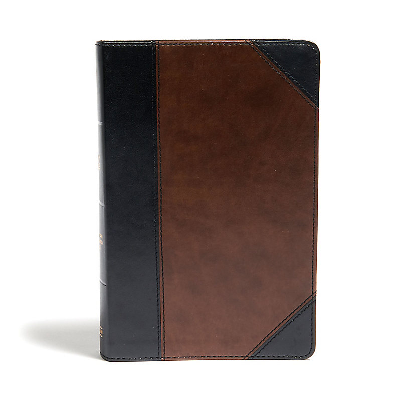 CSB Large Print Personal Size Reference Bible, Black/Brown LeatherTouch