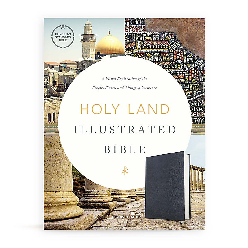 CSB Holy Land Illustrated Bible, Premium Black Genuine Leather