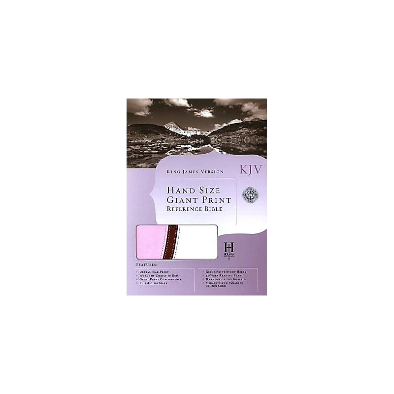 KJV Large Print Personal Size Reference Bible, Pink/Brown/White LeatherTouch