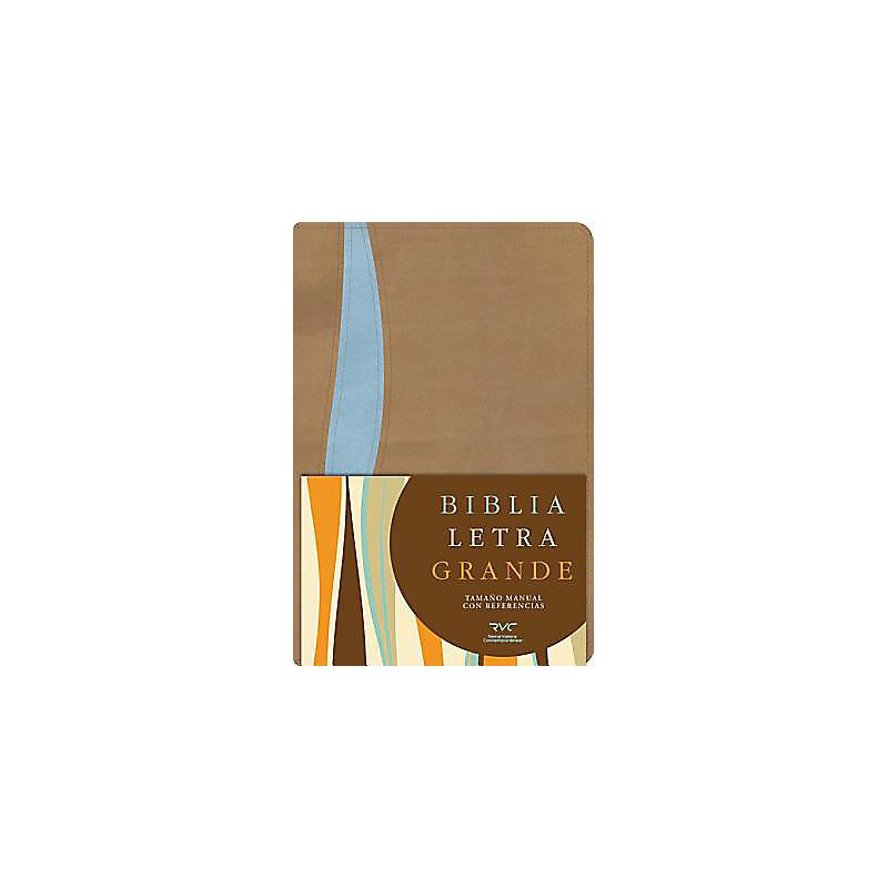 RVC Biblia Letra Grande Tamaño Manual, tostado/azul símil piel