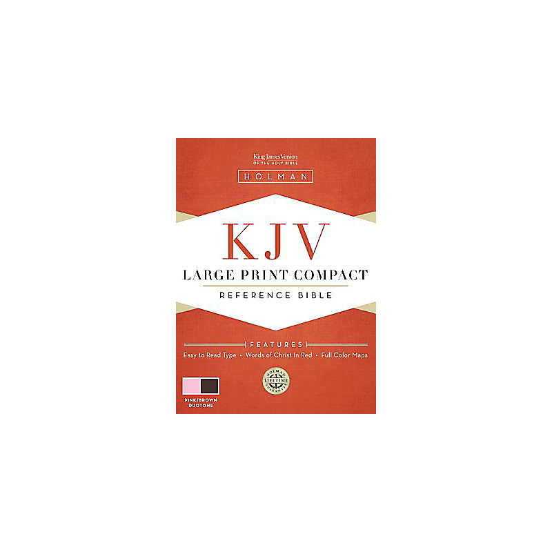 KJV Large Print Compact Bible, Pink/Brown LeatherTouch