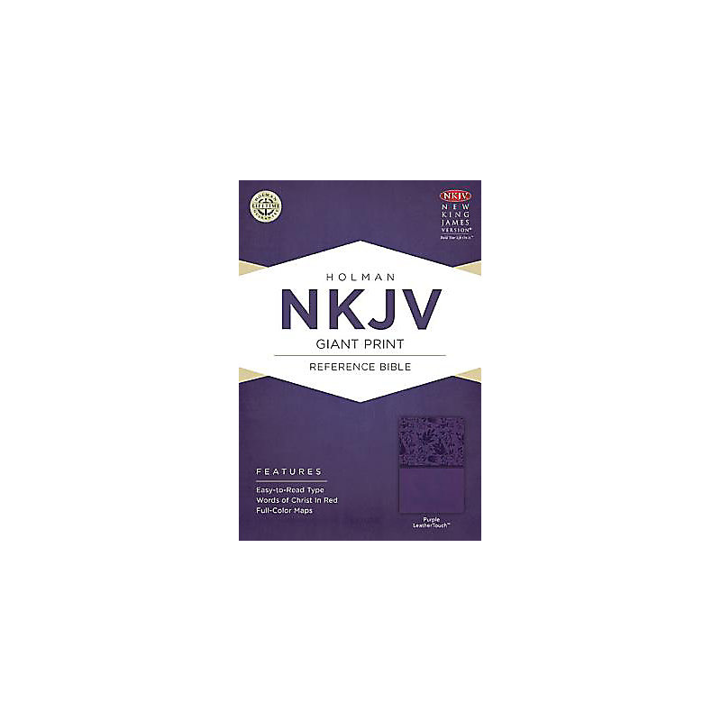 NKJV Giant Print Reference Bible, Purple LeatherTouch