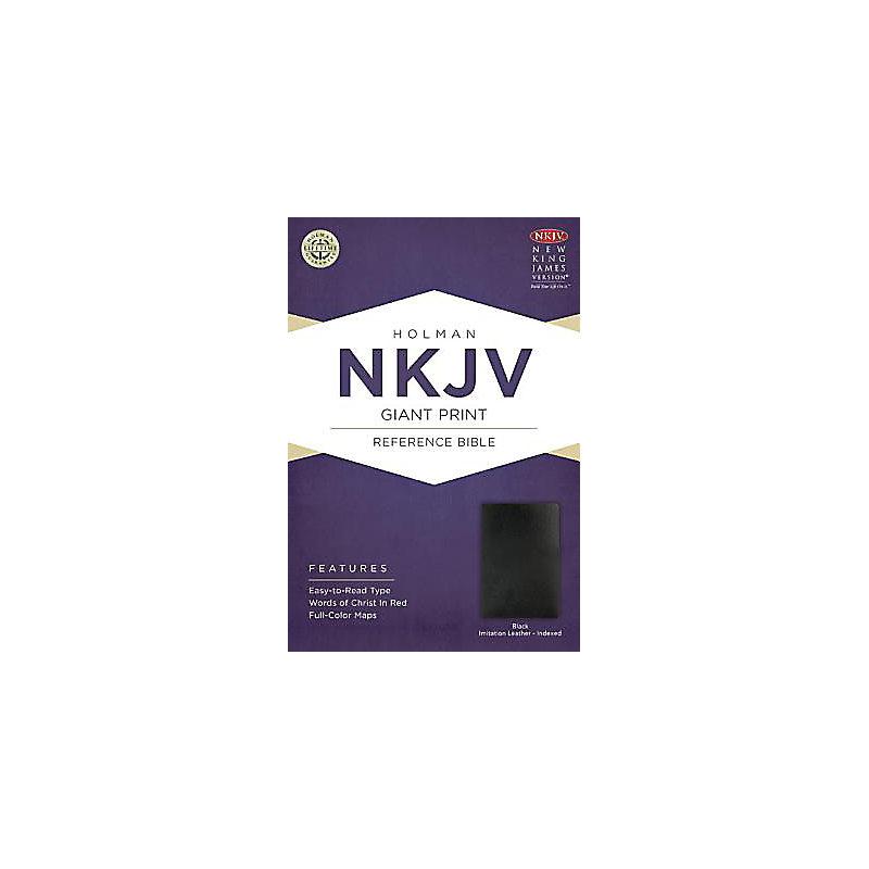 NKJV Giant Print Reference Bible, Black Imitation Leather Indexed