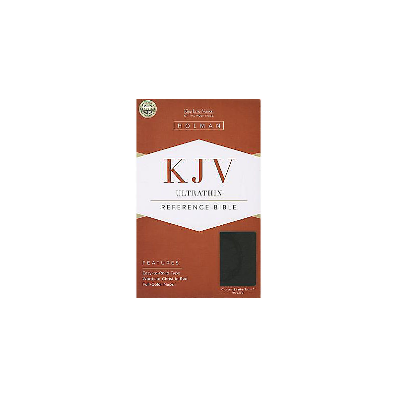 KJV Ultrathin Reference Bible, Charcoal LeatherTouch Indexed