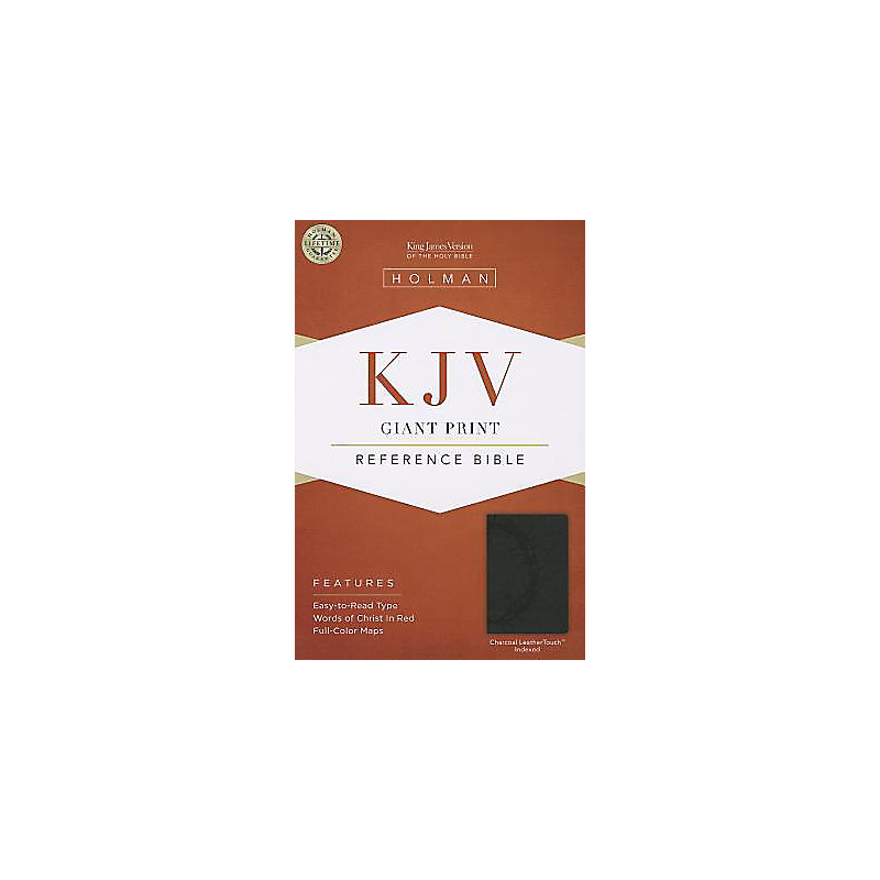 KJV Giant Print Reference Bible, Charcoal LeatherTouch Indexed