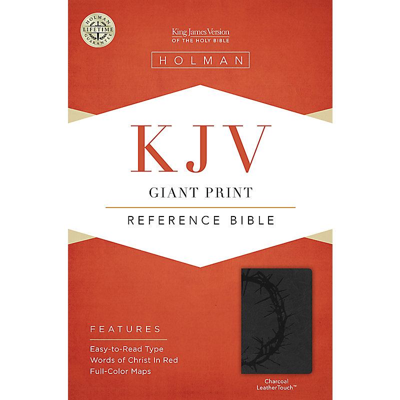KJV Giant Print Reference Bible, Charcoal LeatherTouch