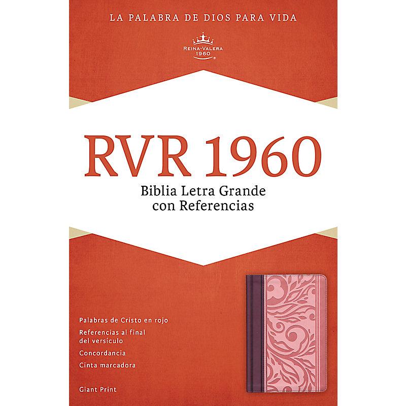 RVR 1960 Biblia Letra Gigante con Referencias, borravino/rosado símil piel