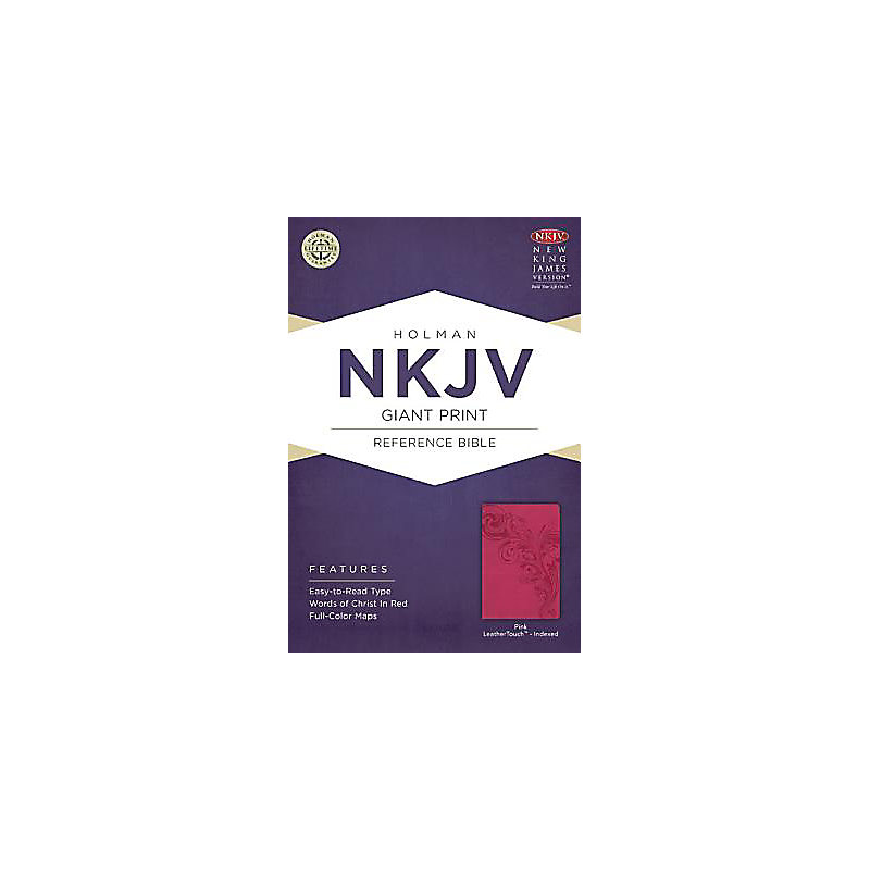 NKJV Giant Print Reference Bible, Pink LeatherTouch Indexed