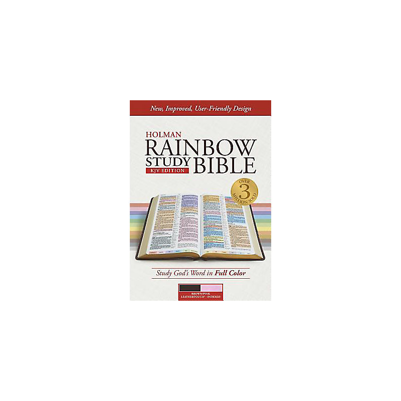 KJV Rainbow Study Bible, Brown/Pink LeatherTouch, Indexed
