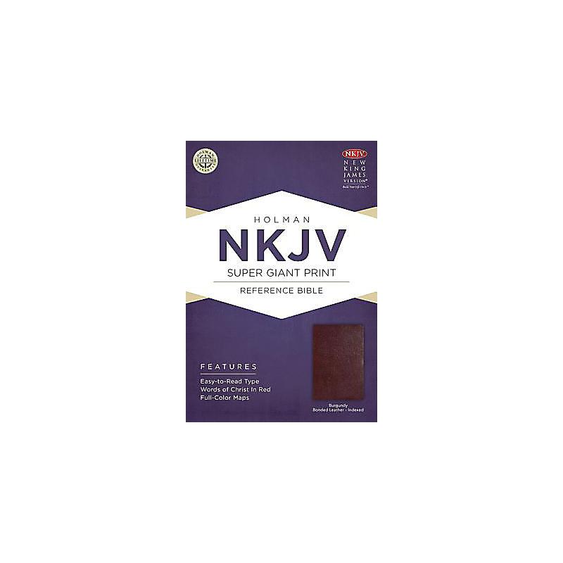NKJV Super Giant Print Reference Bible, Burgundy Bonded Leather Indexed