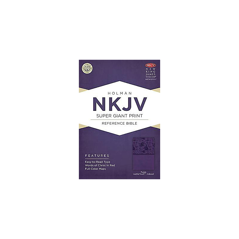 NKJV Super Giant Print Reference Bible, Purple LeatherTouch Indexed