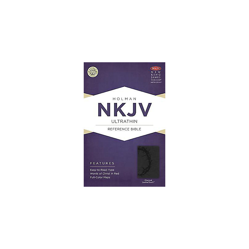 NKJV Ultrathin Reference Bible, Charcoal LeatherTouch
