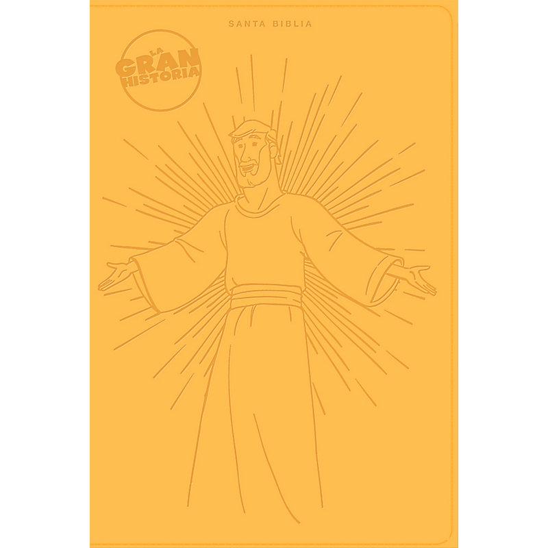 NTV La Gran Historia: Biblia Interactiva, amarillo símil piel