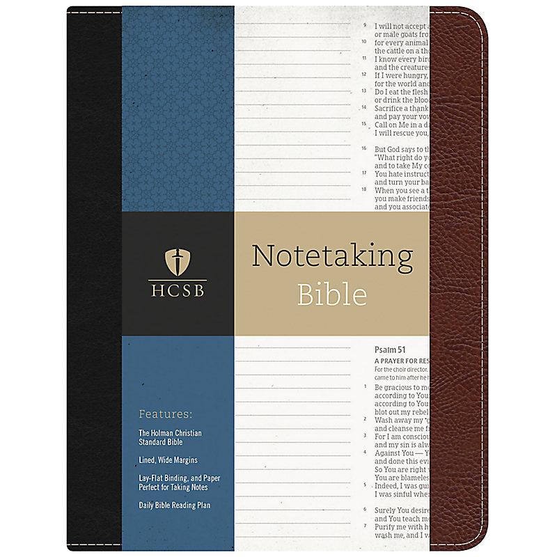 HCSB Notetaking Bible, Black/Brown Bonded Leather