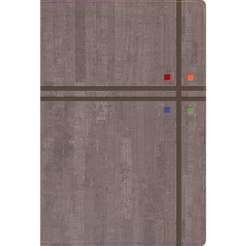 RVR 1960 Biblia de Estudio Arco Iris, gris pizarra/oliva símil piel con índice