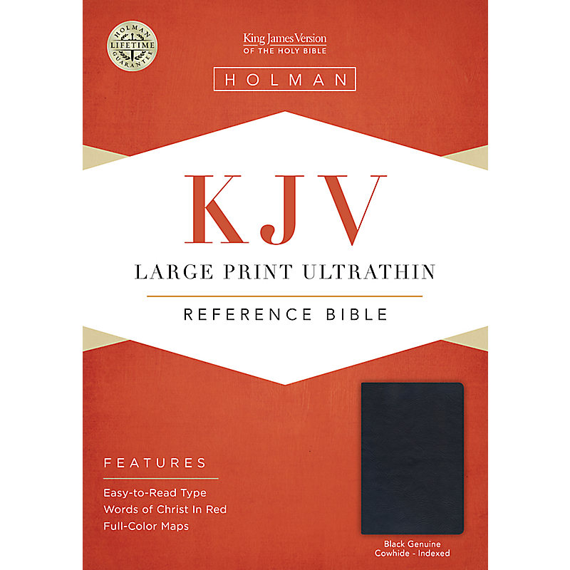 KJV Large Print UltraThin Reference Bible, Black Genuine Leather Indexed